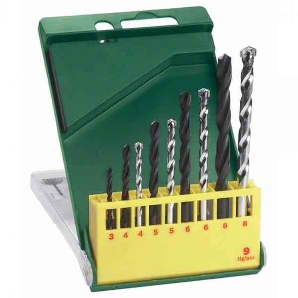 Bosch Metallbohrer und Steinbohrer Set 9-tlg. Bohrer 3 - 8 mm