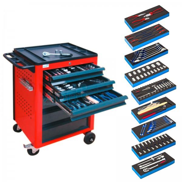 ADB Werkstattwagen rot mit 6 Schubladen + Werkzeug 115-tlg.