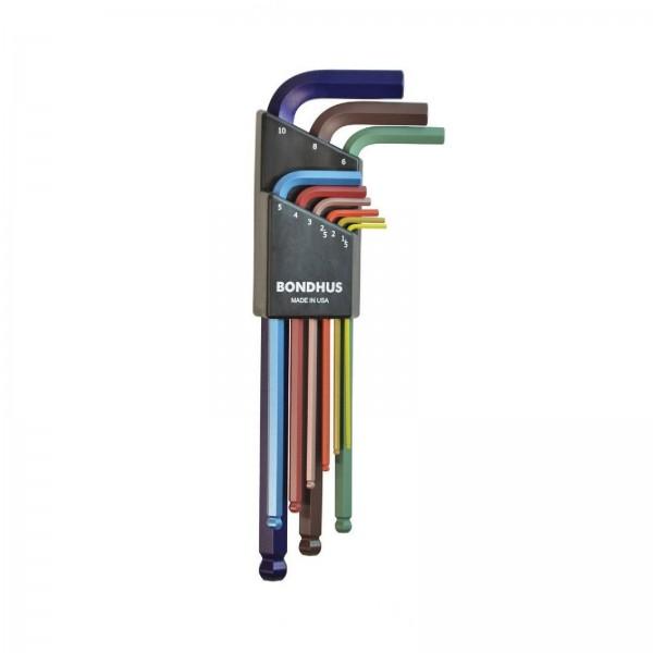 Bondhus Kugelkopf Winkelschlüsselsatz 9-tlg. Winkelschraubendreher Set farbig