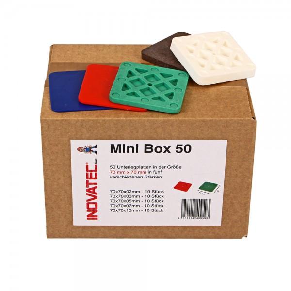 Unterlegplatten Abstandshalter Justierklötze 70x70 mm Mini-Box 50 gemischt