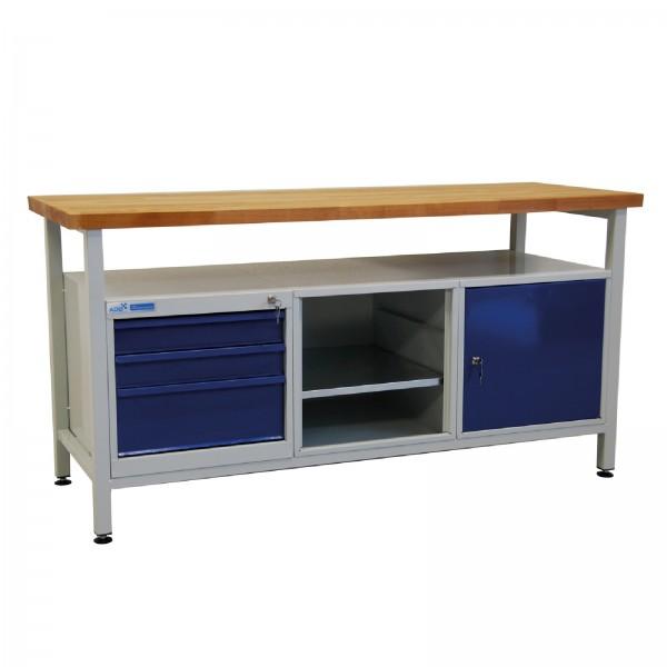 ADB Werkbank Werktisch Werkzeugtisch + 1 Fachboden + 3 Schubladen + 1 Tür 1700x600x840 mm