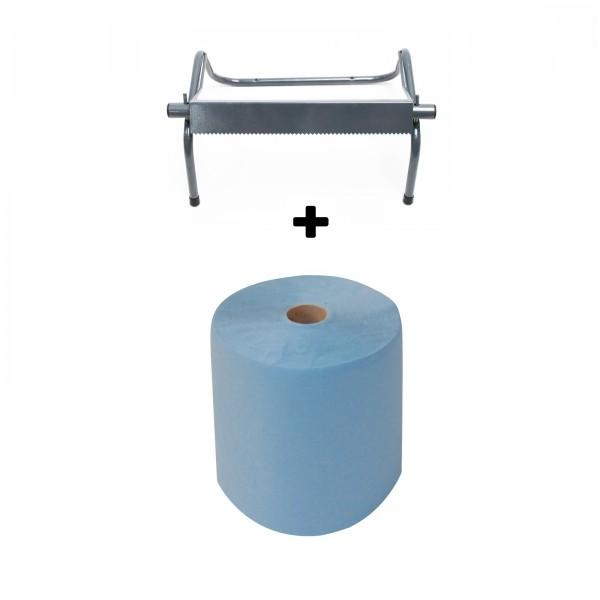 Putztuchrolle Putztuch Papiertuch Rolle blau 3 lagig + Wandhalter Rollenhalter