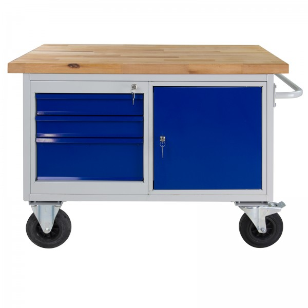 ADB Tischwagen Werkbank Werktisch + 3 Schubladen + 1 Tür 830x1300x600 mm
