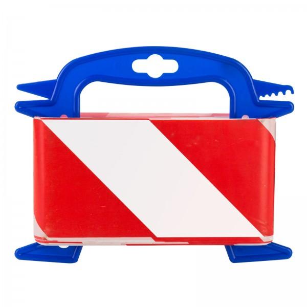 Absperrband Warnband Trassenband Flatterband Band auf Abroller 50 m rot / weiß