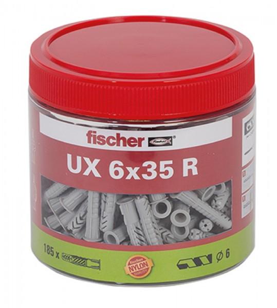 Fischer Dübel UX Universaldübel 6x35 R mit Kragen - 185 Stück in Dose