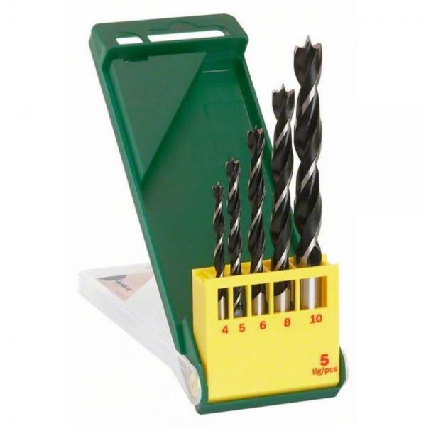 Bosch Holzspiralbohrer Set 5-tlg. Holzbohrer Bohrer 4 - 10 mm