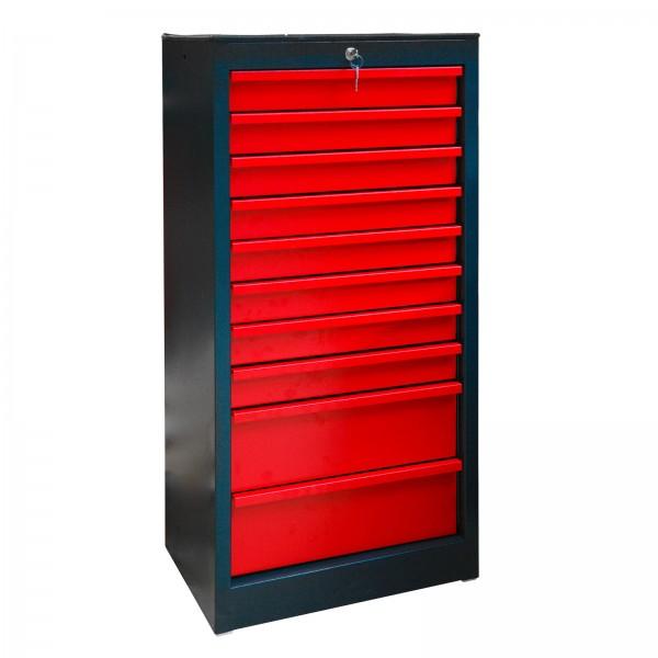 Schubladenschrank 10 anthrazit/rot 530x425x1120