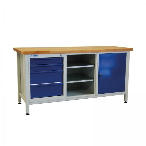 ADB Werkbank Werktisch Werkzeugtisch + 2 Fachböden + 4 Schubladen + 1 Tür 1700x600x840 mm