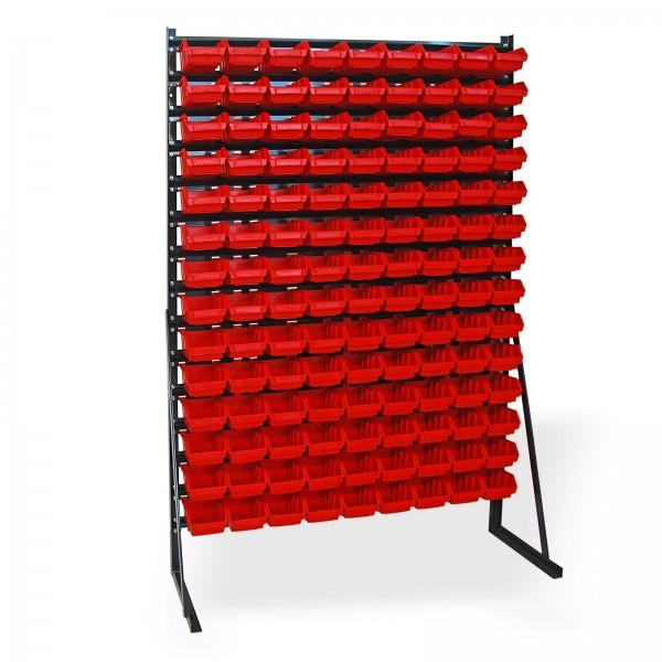 Kleinteilemagazin mit 126 Lagersichtkästen; 1114 x 350 x 1650 mm