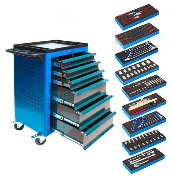 ADB Werkstattwagen blau mit 6 Schubladen + Werkzeug 115-tlg.