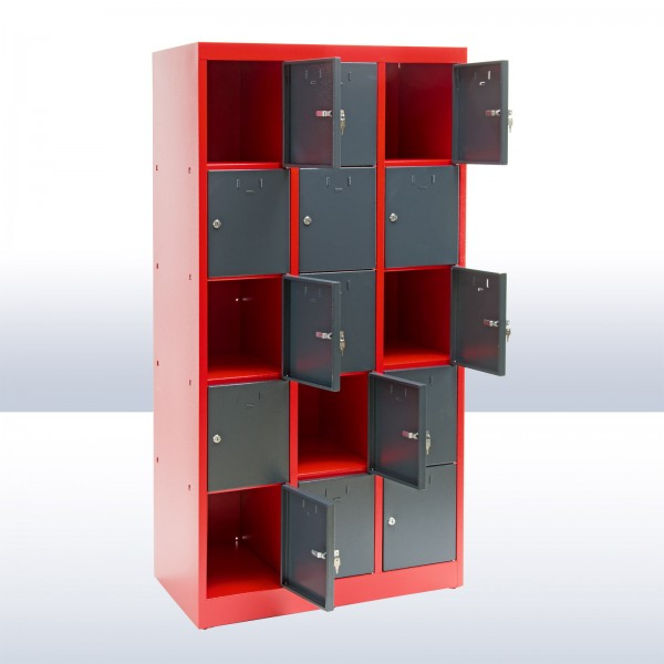 Schließfachschrank 15 Fächer rot / anthrazit