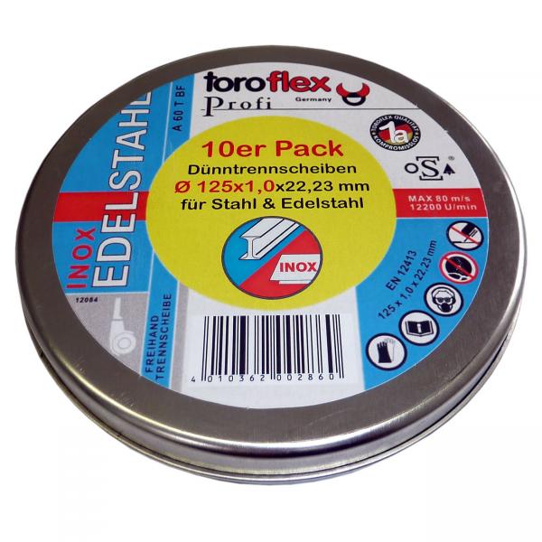 Trennscheiben Inox Edelstahl Metall Stahl 115x1,0 -125x1,0 toroflex 10er Pack